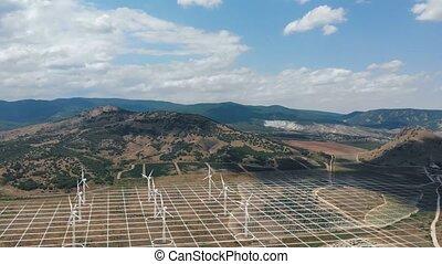 force, augmented, vent, way., moulins, ecologic, réalité, énergie, tourner, projet, aérien, vert, coup, générer, renouvelable