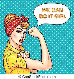 force, elle, femme foyer, femme, séduisant, démontrer, pop, confiant, art