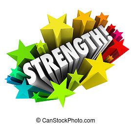 force, mot, capacité, avantage, compétitif, étoiles, fort