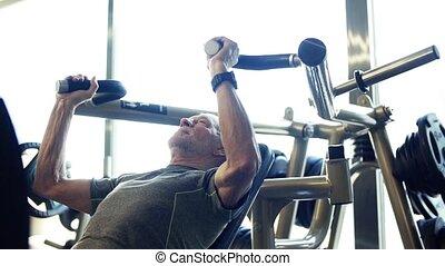 force, séance entraînement, motion., gym., lent, personne agee, exercice, homme