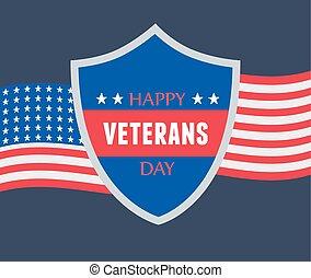 forces, heureux, drapeau, américain, militaire, nous, armé, jour, soldat, lettrage, vétérans, bouclier