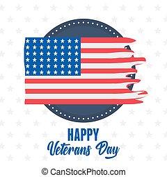 forces, heureux, emblème, soldat, drapeau, américain, étiquette, militaire, déchiré, nous, jour, armé, vétérans