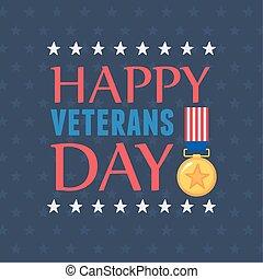 forces, heureux, inscription, drapeau, médaille, militaire, nous, armé, jour, soldat, emblème, vétérans