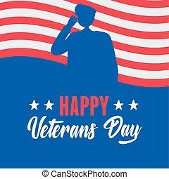 forces, heureux, silhouette, drapeau, soldat, militaire, américain, nous, armé, jour, vétérans