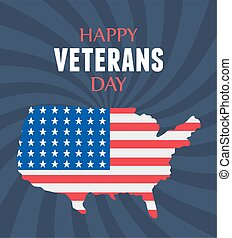 forces, heureux, soldat, drapeau, américain, militaire, nous, armé, jour, carte, vétérans