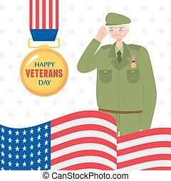forces, heureux, soldat, médaille, militaire, drapeau américain, nous, armé, jour, vétérans