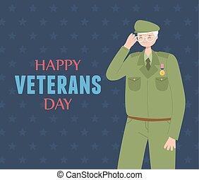 forces, heureux, soldat, militaire, nous, armé, jour, caractère, vétérans