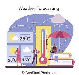 forecaster, temps, météorologiste, concept., étudier, rechercher