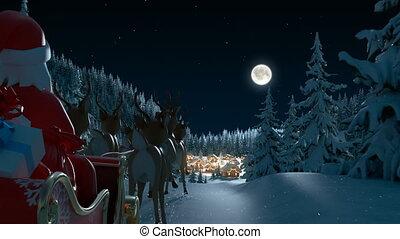 forest., animation, arrive, hd, santa, entiers, 3d, claus, beau, noël, village, joyeux