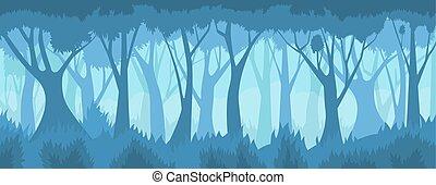 forest., brumeux, vecteur, paysage.