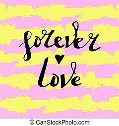 'forever, love', lettres, vecteur, fond, rayé