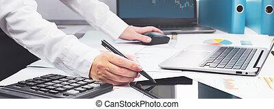 forex, business, graphiques, ordinateur portable, bureau