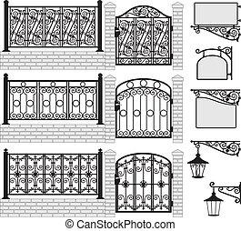 forgé, ensemble, fer, portes, barrières