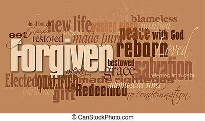 forgiven, chrétien, mot, montage