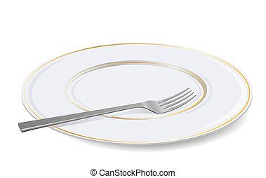 fork., blanc, vecteur, plaque