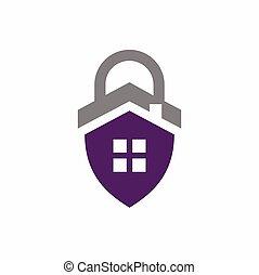 formé, maison, cadenas, logo