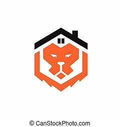formé, maison, lion, logo