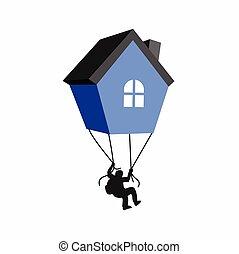 formé, maison, parachute, logo