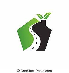 formé, maison, route, logo