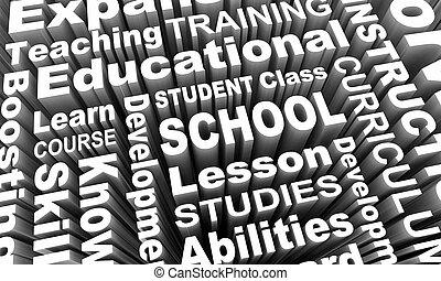 formation, étudiant, render, école, illustration, apprentissage, enseignement, education, mots, 3d