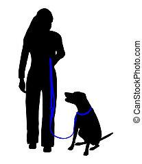 formation, asseoir, command:, chien, (obedience):, talon