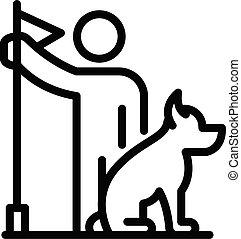 formation, contour, icône chien, début, style