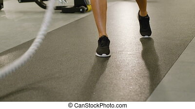 formation, crise, cordes, intervalle, gros plan, femme, bataille, utilisation, high-intensity