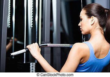 formation, femme, athlétique, gymnase, jeune, travaux, dehors