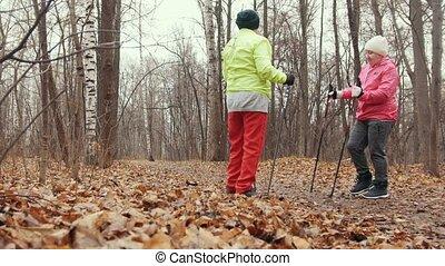formation, femme, -, parc, marche, personnes agées, deux, automne, nordique, avoir