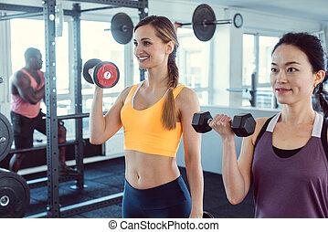 formation, gymnase, deux, ensemble, fitness, femmes