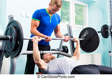 formation, gymnase, hommes, barre disques, fitness, sport