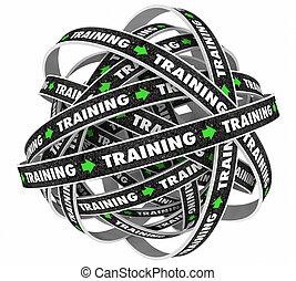 formation, interminable, illustration, apprentissage, continuel, education, boucle, 3d