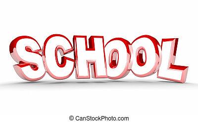 formation, mot, étudiant, école, illustration, apprentissage, education, 3d