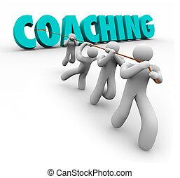 formation, mot, entraînement, direction, équipe, tiré, exercice