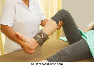 formation, rehab, thérapeute, genou, muscle, physique