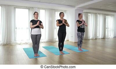 formation, yoga, étudiants, gymnase, manière vivre saine, exercice