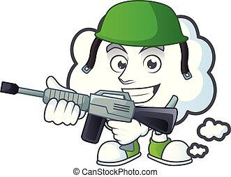 forme., armée, bulle, nuage, dessin animé, mascotte