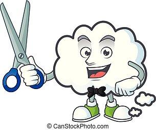 forme., bulle, mascotte, coiffeur, dessin animé, nuage
