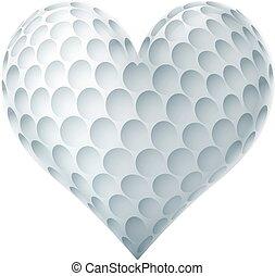 forme coeur, balle, golf