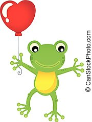 forme coeur, balloon, grenouille, 1, thème