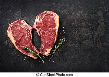 forme coeur, boeuf), vieilli, boeuf cru, sec, de, biftecks, (cote, côte