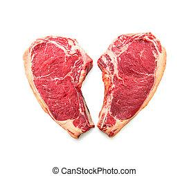 forme coeur, boeuf), vieilli, boeuf cru, sec, de, isolé, biftecks, (cote, côte