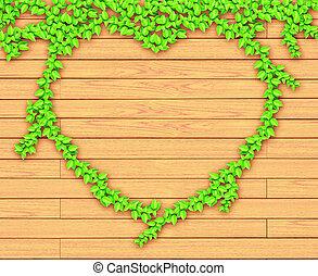 forme coeur, bois, mur, lierre