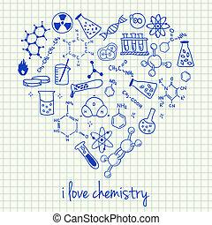 forme coeur, chimie, dessins