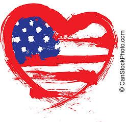 forme coeur, drapeau américain