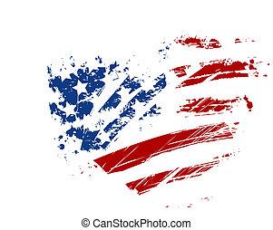 forme coeur, grunge, drapeau, usa
