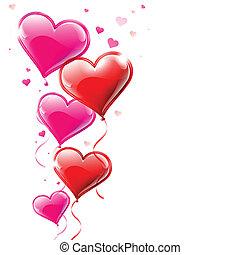 forme coeur, illustration, air, vecteur, écoulement, ballons