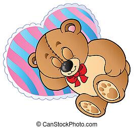 forme coeur, oreiller, ours, teddy