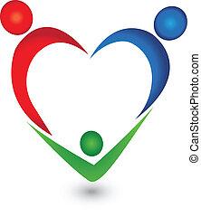 forme coeur, vecteur, famille, logo