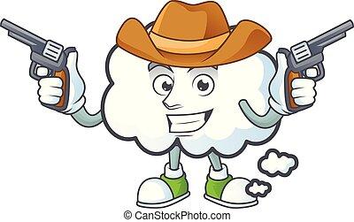 forme., cow-boy, bulle, nuage, dessin animé, mascotte